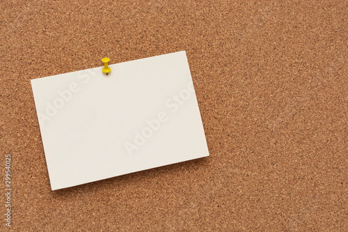 Vászonkép Note paper swith push pins on cork board