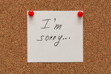 Apologize, I Am Sorry Inscription Text Written On White Paper Pined On Cork Board.