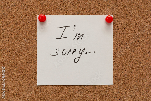 Photo Apologize, I am sorry inscription text written on white paper pined on cork board