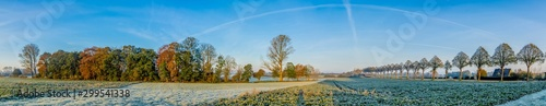 Foto auf AluDibond Blau Beautiful autumn panorama after first frosty night in northern Germany.