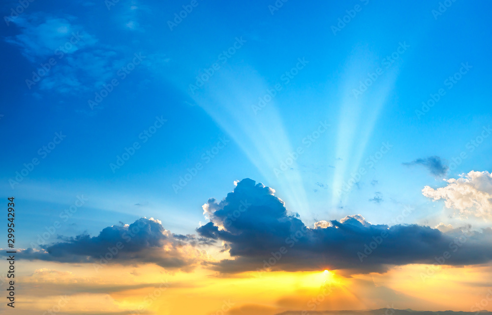 Fototapety, obrazy: Sunset sky with clouds in twilight time