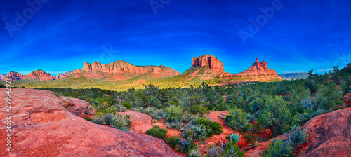 Pamorama of Bell Rock, Courthouse Butte, and Munds Moutain Wilderness from Yavap Canvas Print