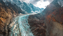 Glacier In The Mountains Of The Caucasus.
