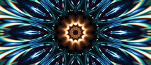 Sci-fi Geometric Design Kaleidoscope, Abstract Mosaic Background, Colorful Futuristic Background. 3d Render