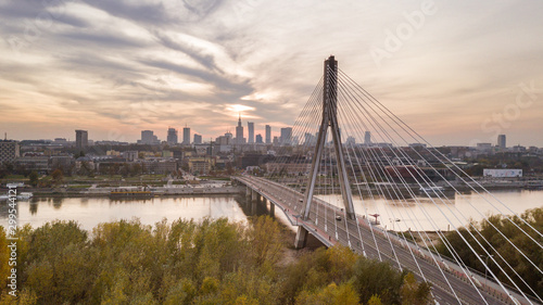 Fototapety, obrazy: Aerial view of Warsaw at Swietokrzyski Bridge at Vistula river at dawn