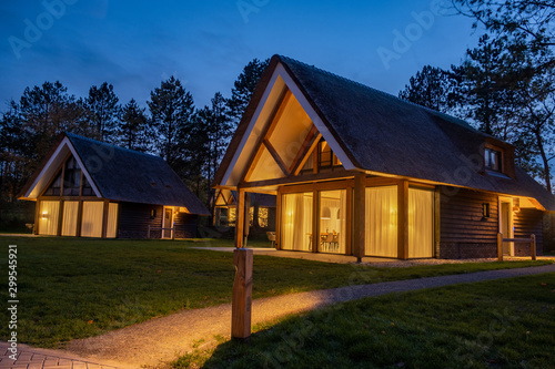 Old historic farmhouse in the Netherlands with reed roof, Traditional Dutch hous Canvas