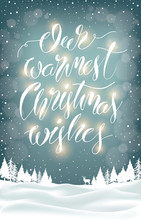 Christmas Greeting Text On Winter Forest Landscape Background With Deer And Snowflakes. Xmas Card With Lettering Decoration And Festive Lights