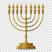 Gold Colored Hanukkah Menorah,...