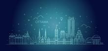 Vector Illustration Of Ottawa City Skyline. Cityscape