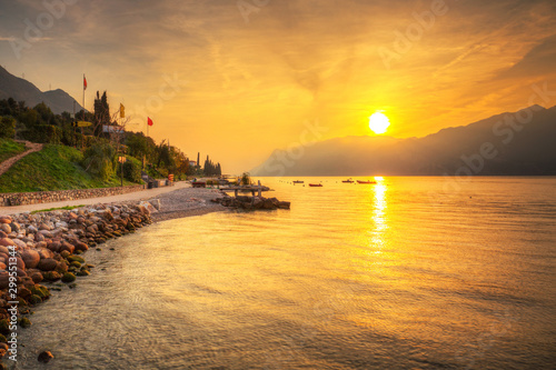 plakat Beautful coastline of Garda lake at sunset, northern Italy