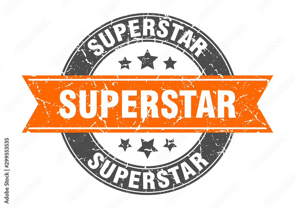 Fototapety, obrazy: superstar round stamp with orange ribbon. superstar