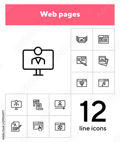 Web pages line icon set Wallpaper Mural