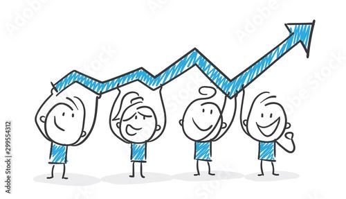 Stickman Blue: Teamwork, Arrow, Stock Market. (Nr. 174) Canvas Print