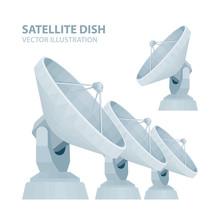 Satellite Dish. Realistic Radio Telescope Vector Illustrations Set. Parabolic Satellite Dish. Part Of Set.
