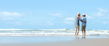 Asian Lifestyle Senior Couple Dancing On The Beach Happy And Relax Time.  Tourism Elderly Family Travel Leisure And Activity After Retirement In Vacations And Summer. Copy Space And Benner For Text