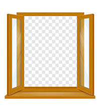 Open Wooden Window With Transp...
