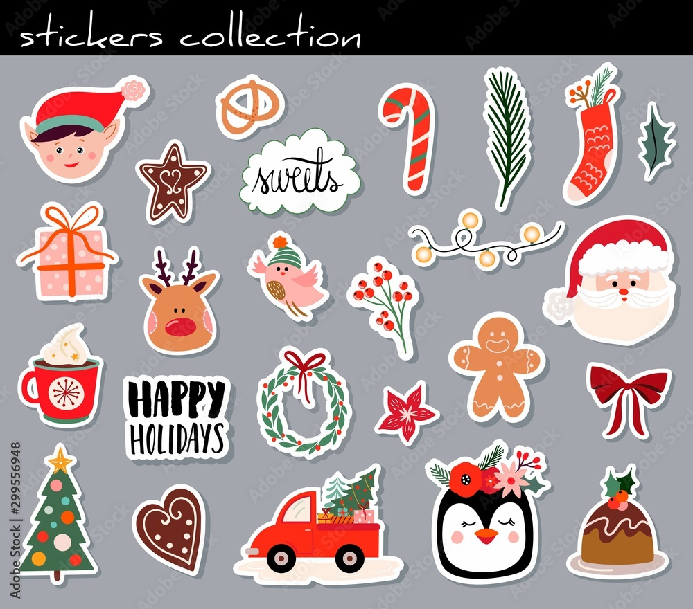 Fototapety, obrazy: Christmas stickers collection with cute seasonal elements, isolated