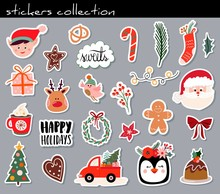 Christmas Stickers Collection With Cute Seasonal Elements, Isolated