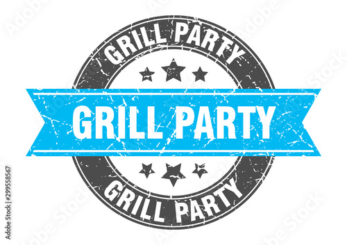 grill party round stamp with turquoise ribbon. grill party Wallpaper Mural