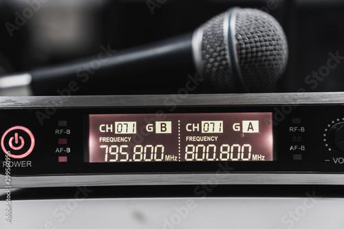 Billede på lærred Microphone for speaker speech with digits radio frequency transceiver or transmi