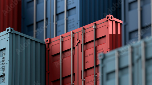 Photo Stack of containers box, Cargo freight ship for import export logistics