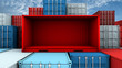 canvas print picture - Whole side and empty red container box at cargo freight ship