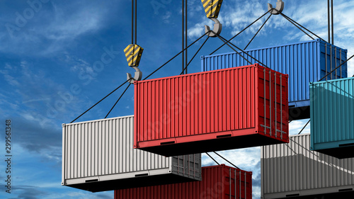 Tablou Canvas Crane hook with a cargo container for text, 3d render