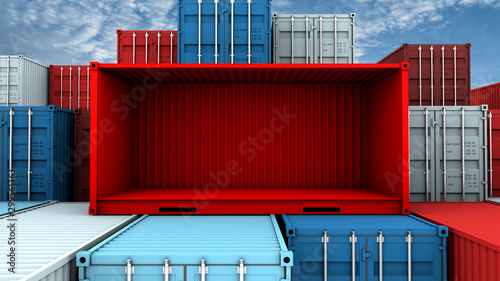 Photo Whole side and empty red container box at cargo freight ship