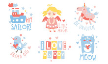 Set Of Cute Images For The Baby. Vector Illustration.