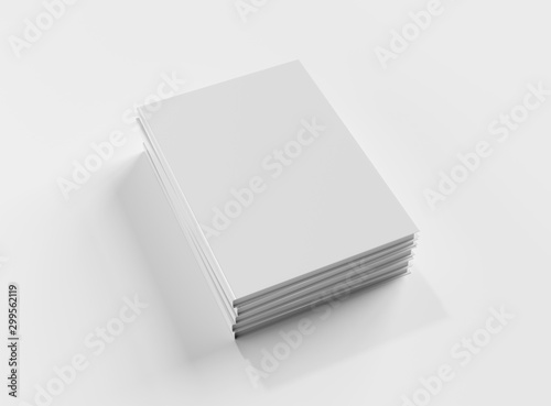 Blank book hardcover pile mockup isolated on white background 3D rendering Tablou Canvas