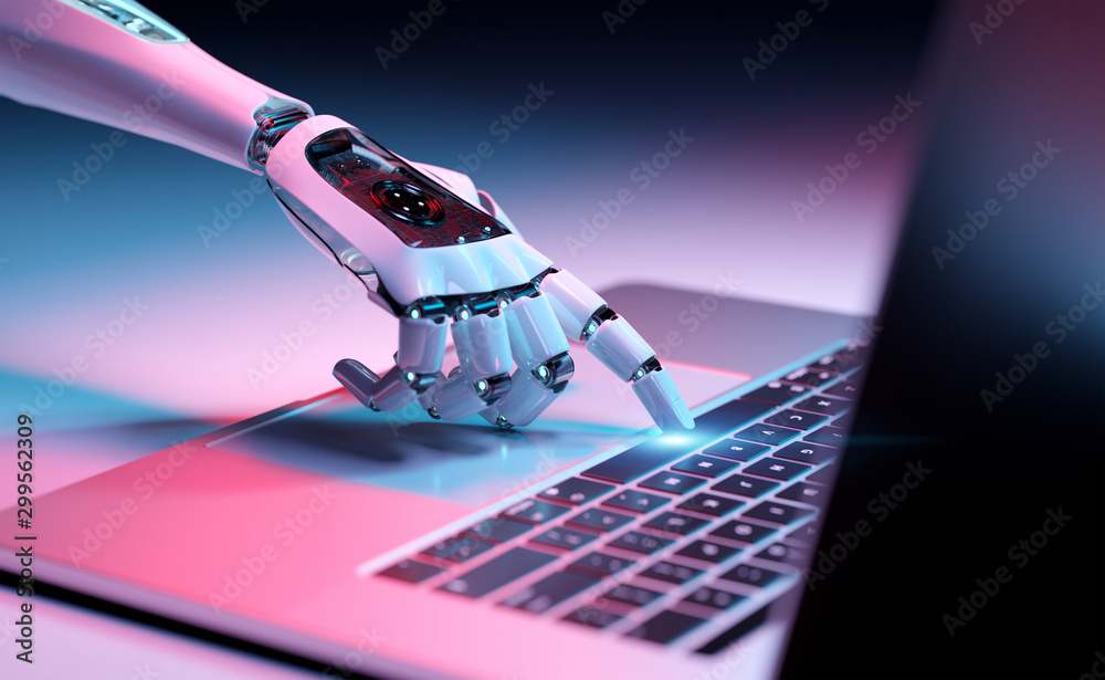 Fototapeta Robotic hand pressing a keyboard on a laptop 3D rendering