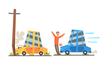 Cars Had An Accident. Vector Illustration On A White Background.