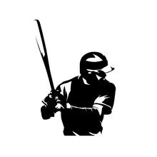 Baseball Player, Isolated Vector Silhouette