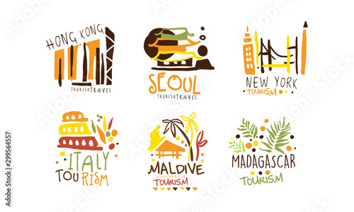 Set of logos for a travel agency with the image of attractions Canvas Print