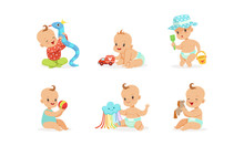 Cartoon Babies With Toys. Vect...