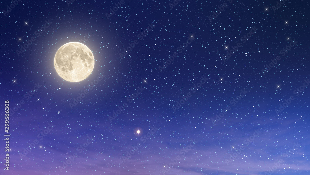 Fototapeta beaufiful full moon with starry night sky in purple and blue shade , element moon from nasa