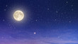 beaufiful full moon with starry night sky in purple and blue shade , element moon from nasa