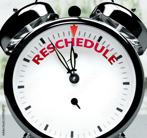 Fényképezés Reschedule soon, almost there, in short time - a clock symbolizes a reminder tha