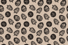 Pine Cone Christmas Pattern Print, Browns, Nature Design