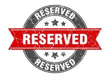 Reserved Round Stamp With Red Ribbon. Reserved