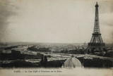 Fototapeta Paryż - Rare vintage postcard with view on Eiffel Tower in Paris, France, circa 1900
