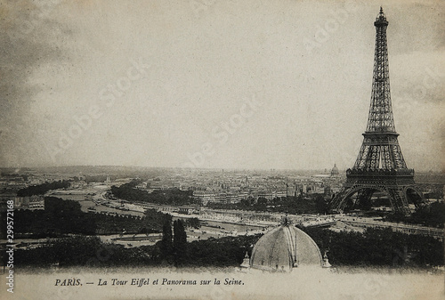 Rare vintage postcard with view on Eiffel Tower in Paris, France, circa 1900 - 299572168