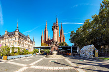 New Town Hall, Brick Building Of The Neo-Gothic Marktkirche, Market Square, Wiesbaden, Hesse, Germany, Jul 2019