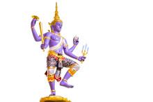 Statue Vishnu Of The Hindu Isolated On A White Background