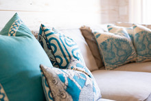 Cozy Beach House Living Room With Blue Decorative Pillows