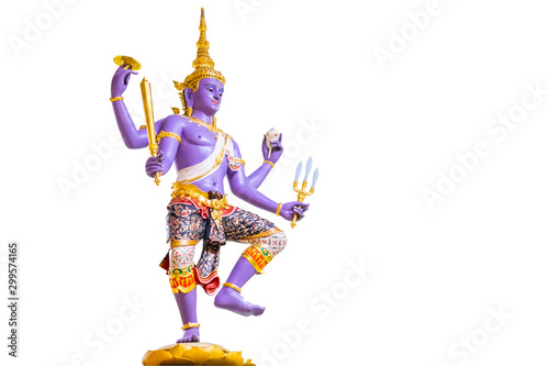 Statue Vishnu Of the Hindu isolated on a white background Canvas Print