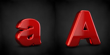 Red Letter A Isolated On Black Background