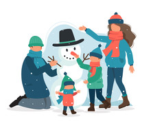 Family Making A Snowman In Winter. Vector Illustration In Flat Style