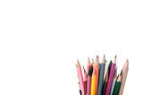 Fototapeta Kawa jest smaczna - colorful pencils isolated on white with copy space