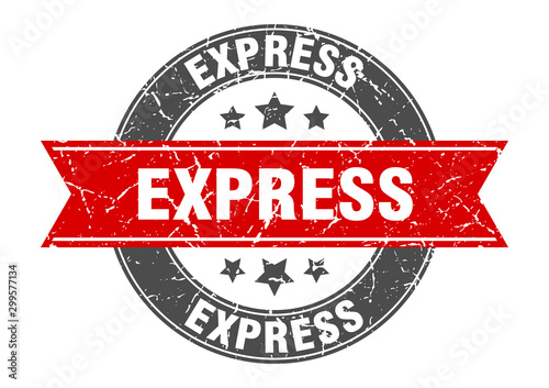 Leinwand Poster  express round stamp with red ribbon. express